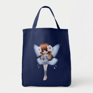 Red Hair Princess Butterfly Navy Bag