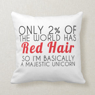 Red Hair Unicorn Pillow