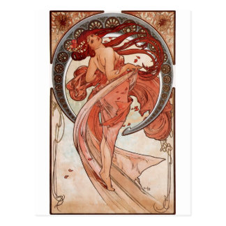 Red Haired Dancing Girl - Mucha Postcard