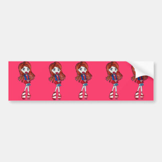Red Haired Fashionista Girl Bumper Sticker