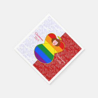 Red-Haired Gay Pride Angel Red White Paper Napkins