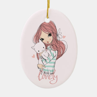 Red Haired Girl and her Little Cat Ceramic Ornament