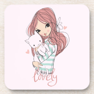 Red Haired Girl and her Little Cat Coaster