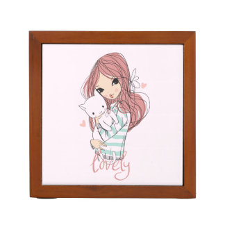 Red Haired Girl and her Little Cat Desk Organizer