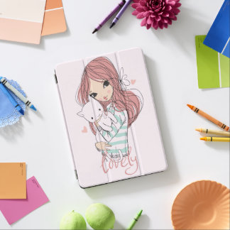Red Haired Girl and her Little Cat iPad Air Cover