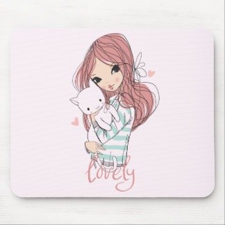 Red Haired Girl and her Little Cat Mouse Pad