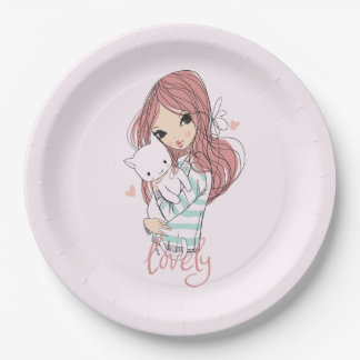 Red Haired Girl and her Little Cat Paper Plate
