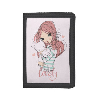 Red Haired Girl and her Little Cat Trifold Wallet