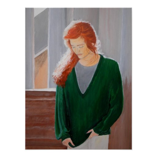 Red haired girl female fall portrait Poster