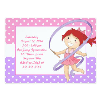 Red Haired Girl Gymnastics Birthday Invitations