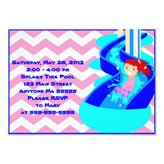 Red Haired Girl Pool Party Invitation