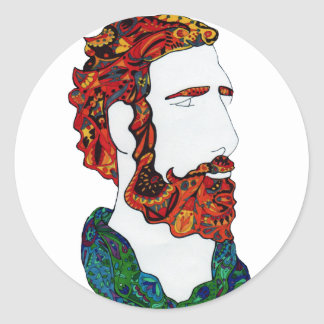 Red-haired hipster dude classic round sticker