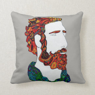 Red-haired hipster dude throw pillow