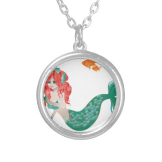 Red Haired Mermaid 2 Silver Plated Necklace