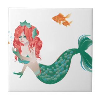 Red Haired Mermaid 2 Tile