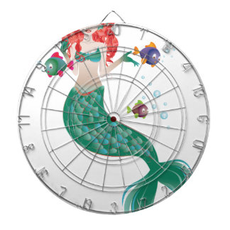 Red Haired Mermaid Dartboard