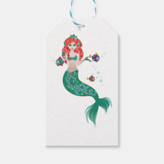 Red Haired Mermaid Gift Tags