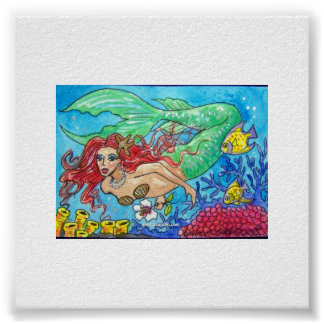 red haired mermaid poster