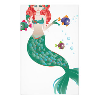 Red Haired Mermaid Stationery