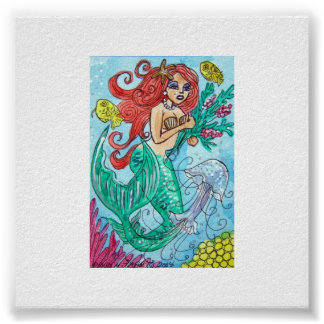 red haired mermaid with flowers poster