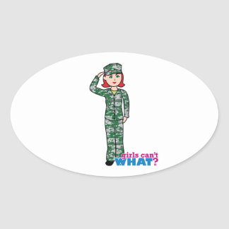 Red Haired Military Girl in Camo Oval Sticker