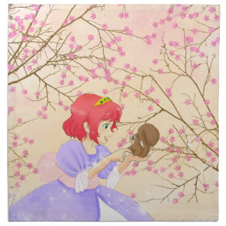 Red haired Princess and squirrel blossom napkin