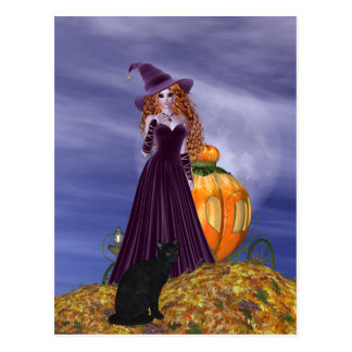 Red Haired Witch Postcard