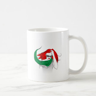 Red haired woman coffee mugs