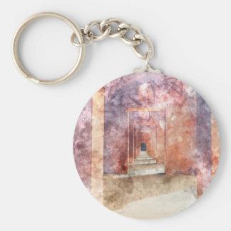Red Hallway at the Taj Mahal Basic Round Button Keychain