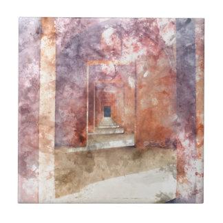Red Hallway at the Taj Mahal Ceramic Tiles
