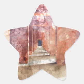 Red Hallway at the Taj Mahal Star Sticker