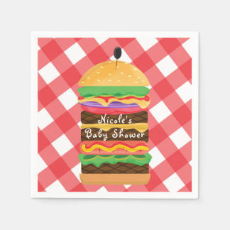 Red Hamburger Summer Cookout Barbecue BBQ Party Paper Napkin