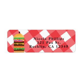 Red Hamburger Summer Cookout Barbecue Invitation Return Address Label