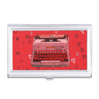 Red Hand-Drawn Retro Typewriter Business Card Holder