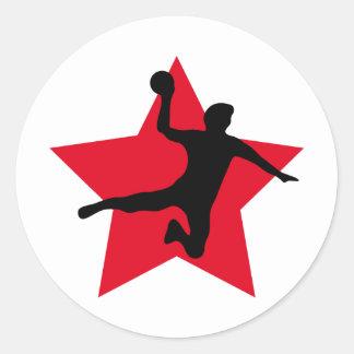 red handball star classic round sticker