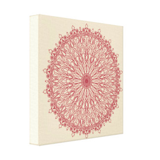 Red Handrawing Mandala Canvas Print