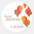 Red Hanging Lantern Chic Bridal Shower Classic Round Sticker