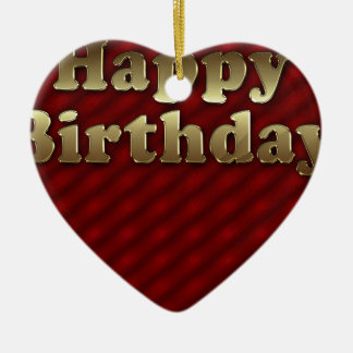 Red Happy-birthday Ceramic Heart Ornament