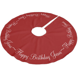Red Happy Birthday Jesus Brushed Polyester Tree Skirt