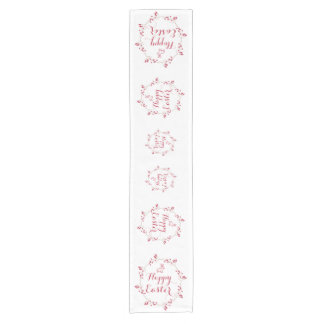 Red Happy Easter Table Runner With Wreath