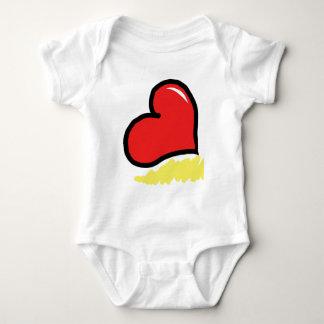 red happy heart baby bodysuit