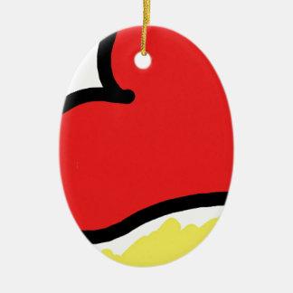 red happy heart ceramic oval ornament