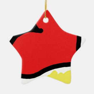 red happy heart ceramic star ornament
