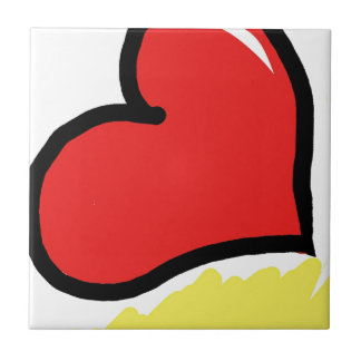 red happy heart ceramic tile
