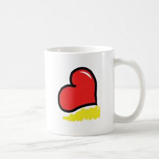 red happy heart coffee mug