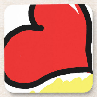 red happy heart drink coasters