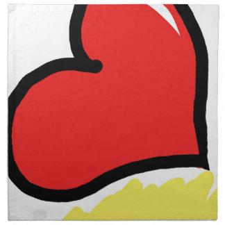 red happy heart napkin
