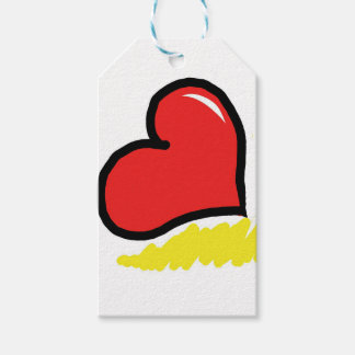 red happy heart pack of gift tags