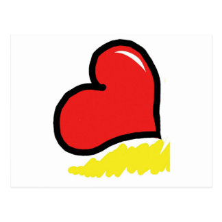 red happy heart postcard