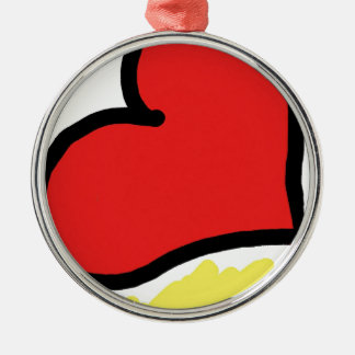 red happy heart Silver-Colored round ornament